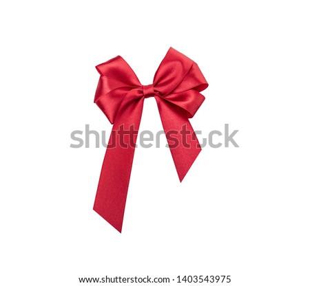 Shiny red satin ribbon isolated on white background #1403543975