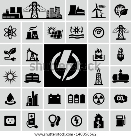 Energy, electricity, power icons Royalty-Free Stock Photo #140358562