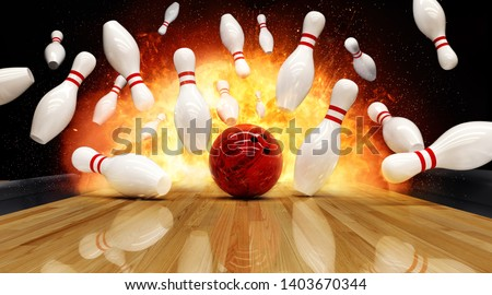 Bowling strike hit with fire explosion. Concept of success and win. Royalty-Free Stock Photo #1403670344