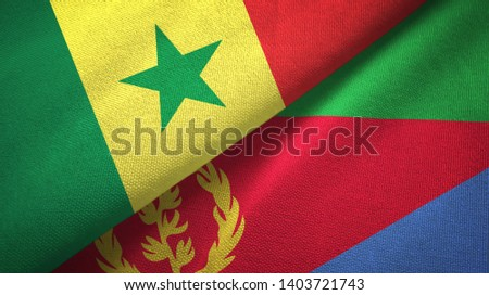 Senegal and Eritrea two flags textile cloth, fabric texture #1403721743