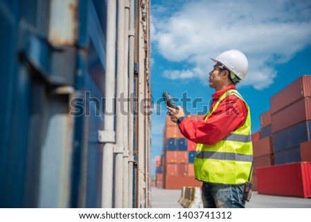 Foreman control loading containers box from cargo freight ship for import export, Foreman control industrial container cargo freight ship, Business logistic concept, Import and export concept  #1403741312