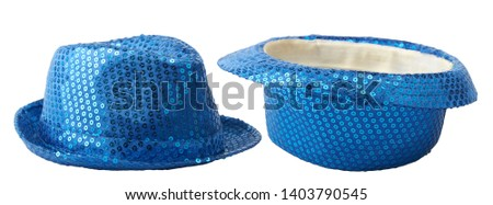 Two blue shiny hats lying flat and inverted isolated on white #1403790545