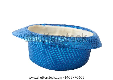 Inverted shiny blue hat isolated on white #1403790608