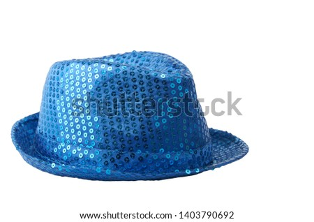 Shiny blue hat isolated on white #1403790692