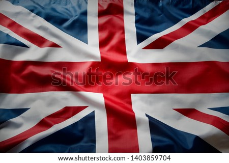 Closeup of Union Jack English flag  Royalty-Free Stock Photo #1403859704