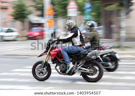 Belgrade, Serbia - May 20, 2019 : Two motorbikes speeding on the city street #1403954507