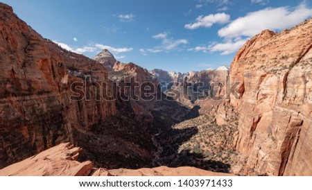 Zion Park Observation Point Angels Landing - overview of the canyon during winter time. #1403971433