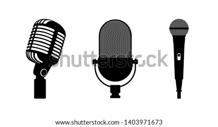 Three microphones retro and classic style. White background. Silhouette microphone. Music icon, mic. Flat design, vector illustration