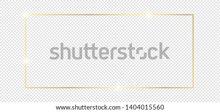 Gold shiny glowing frame with shadows isolated on transparent background. Golden luxury vintage realistic rectangle border. illustration - Vector #1404015560