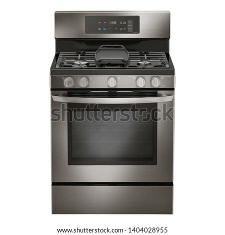 Double Oven Gas Range Isolated on White. Household Domestic Major Appliances. Front View of Modern Black Stainless Steel Freestanding Kitchen Stove with Convection. Range Cooker 5 Five Burner Cooktop #1404028955