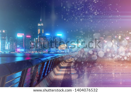 Abstract colorful bokeh with city night background. Double exposure #1404076532