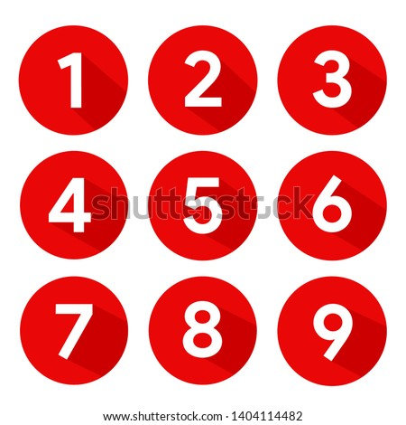 Set of Round 1-9 Numbers Icon Vector for Education and UI/UX Design Royalty-Free Stock Photo #1404114482