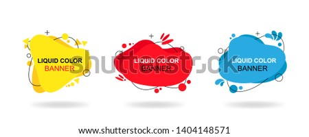 Set of modern abstract vector banners. Liquid color banners. Flat geometric shapes of different colors with black outline. #1404148571