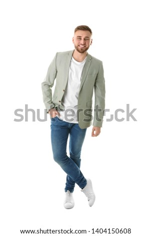 Full length portrait of young man on white background #1404150608