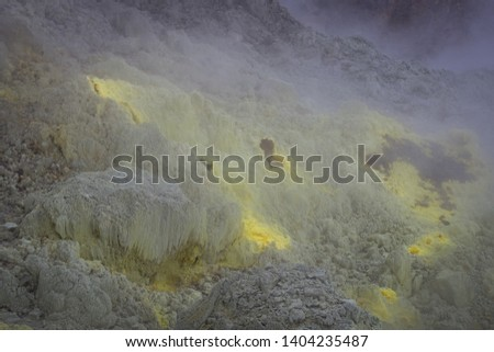 view of crater on active mountain with sulfur gas come out from stone. Beautiful landscape of mount Papandayan. Papandayan Mountain is one of the favorite place to hike on Garut. #1404235487