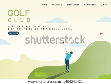 Web page design templates of Golf website, sport, tournament, health. Modern vector illustration concepts for website development.