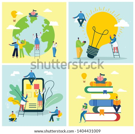 Vector concept illustrations of Read the book, Online education, Big Idea and Earth world day in the flat style.