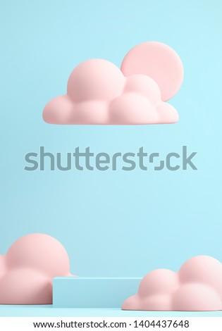 Minimal Beverage background for coffee tea smoothie drink presentation. Blue podium and pink cloud scene. Cafe poster templates mock up illustration. 3d render illustration.