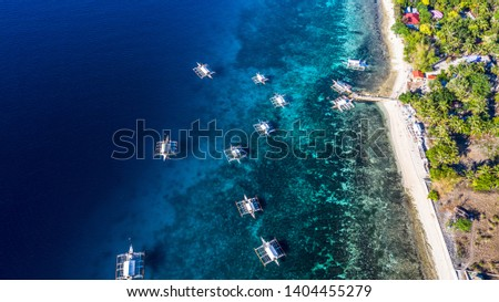 Aerial view bay and shore in Oslob, Cebu, Philippine, best place to snorkel and scuba drive and Whale Shark Watching, There is a deep clean blue ocean and has many local Filipino boats in the sea. #1404455279