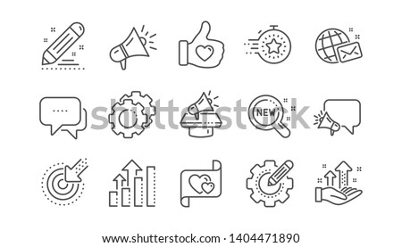 Brand social project line icons. Business strategy, Megaphone and Representative. Influence campaign, social media marketing, brand ambassador icons. Linear set. Vector Royalty-Free Stock Photo #1404471890