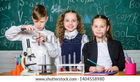 Exploring is so exciting. Chemical reaction occurs when substance change into new substances. Pupils study chemistry in school. Chemical substance dissolves in another. Kids enjoy chemical experiment. #1404558980