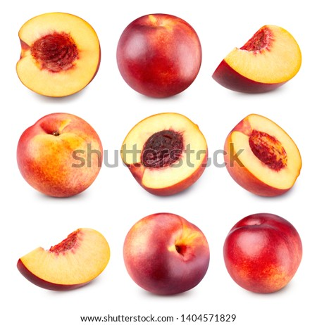 Peach collection Clipping Path. Fresh set peach fruits half. Peach isolated on white background. Professional studio macro shooting #1404571829
