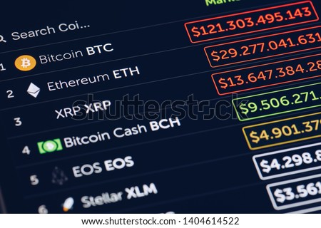 Crypto Currency market concept. Bank market and virtual currency value graph. Statistics comparison of best-selling crypto coins on stock exchange. Use for Bitcoin, ETH, Ripple, Bitcoin cash. #1404614522