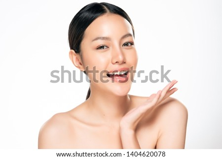 Beautiful Young asian Woman with Clean Fresh Skin look. Beautiful face and skin. Facial treatment. Cosmetology, beauty and spa. #1404620078
