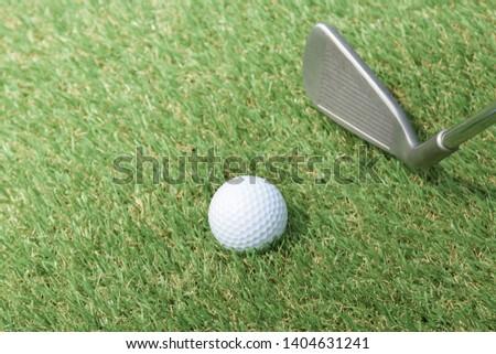 Golf sport, Golf club and ball on grass. #1404631241