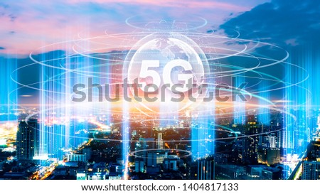 5G network digital hologram and internet of things on city background.5G network wireless systems.IoT(Internet of Things), ICT(Information Communication Technology),communication network concept. #1404817133