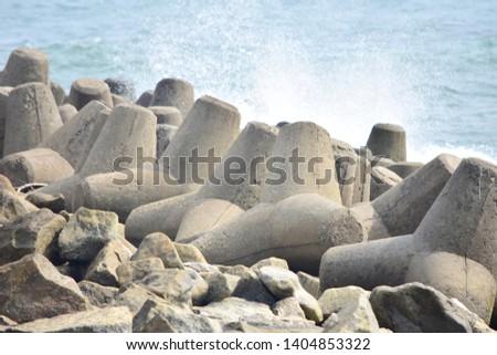 Kollam, Kerala, India: March 2, 2019 - Tangasseri Lighthouse Beach #1404853322