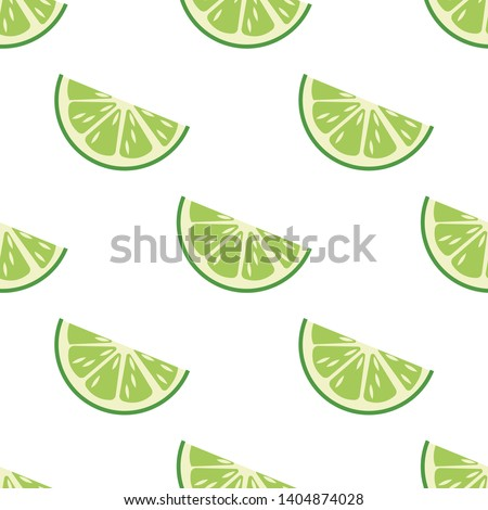 Pattern of slice of lime. Vector illustration in cartoon style #1404874028