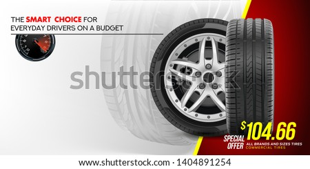 Tire car advertisement poster. 3D illustration of car tire. Wheel. Black rubber tire. Realistic vector shining disk car wheel tyre. Aluminum wheel. Banner. Promo. Information. Store. Banner. Action. #1404891254