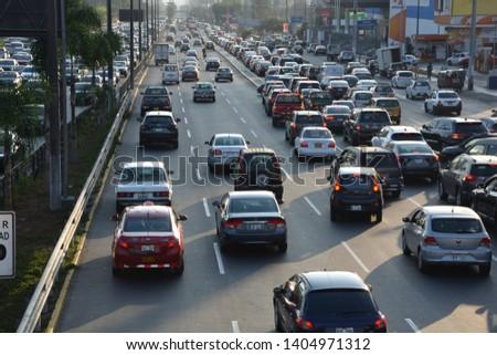 JPG Lima, ima, Peru, 23 april 2019 traffic on Javier Prado #1404971312