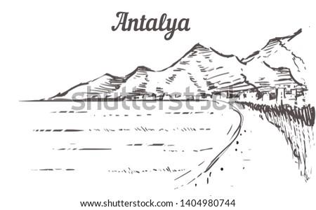 Antalya skyline sketch. Antalya, Turkey beach  hand drawn illustration isolated on white background. #1404980744