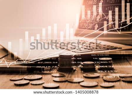 Stock market or forex trading graph and candlestick chart suitable for financial investment concept. Economy trends background for business idea and all art work design. Abstract finance background. #1405008878