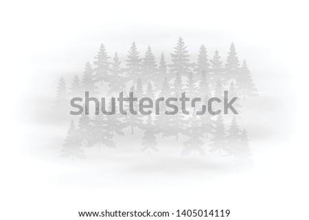 Fog in the forest, black and white landscape, vector illustration, EPS10 #1405014119