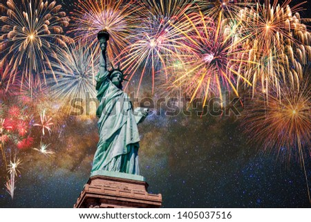 Statue of Liberty over the Multicolor Fireworks Celebrate with the milky way background, 4th of July and Independence day concept #1405037516