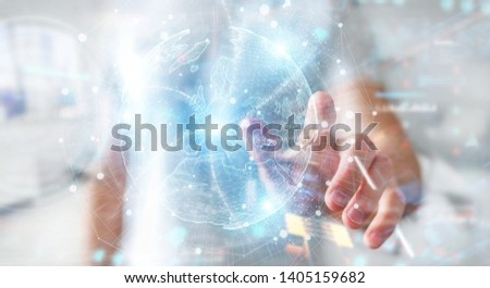 Businessman on blurred background using Europe map globe network hologram 3D rendering #1405159682