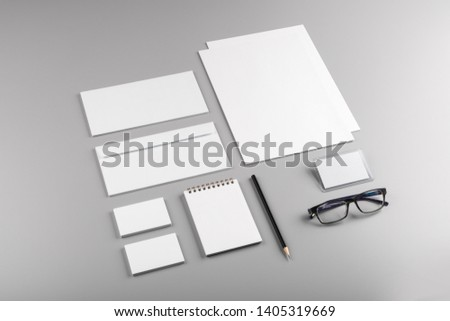 Photo. Template for branding identity. For graphic designers presentations and portfolios. Identity Mock-up isolated on gray and white background. Identity set mock-up. Photo mock up #1405319669