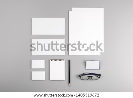 Photo. Template for branding identity. For graphic designers presentations and portfolios. Identity Mock-up isolated on gray and white background. Identity set mock-up. Photo mock up. #1405319672
