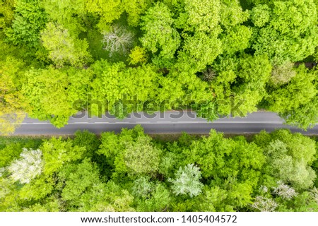 Aerial view of long road cutting through forest #1405404572
