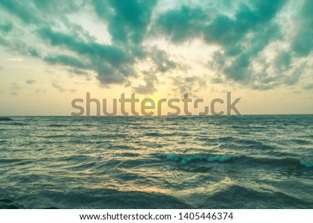 Beautiful seaside waving sea landscape  #1405446374