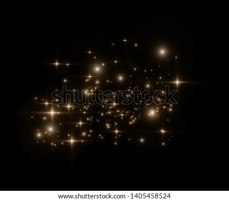 Yellow sparks glitter special light effect. Vector sparkles on transparent background. Christmas abstract pattern. Sparkling magic dust particles -  #1405458524