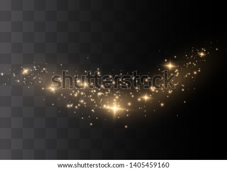 Yellow sparks glitter special light effect. Vector sparkles on transparent background. Christmas abstract pattern. Sparkling magic dust particles #1405459160