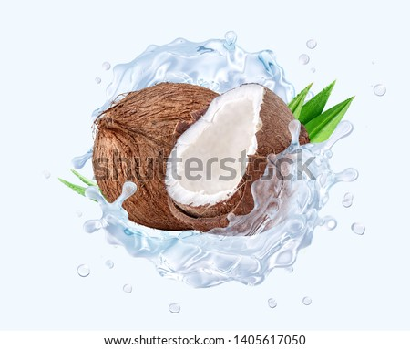 Fresh cold pure coconut water with coconut and waves splash. Coconut water or cocktail 3D wave swirls design elements. Healthy flavored detox drink splash banner with coconut water. Clipping path #1405617050