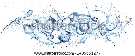 Ice Cubes In Splashing - Cold And Refreshment  Royalty-Free Stock Photo #1405651277