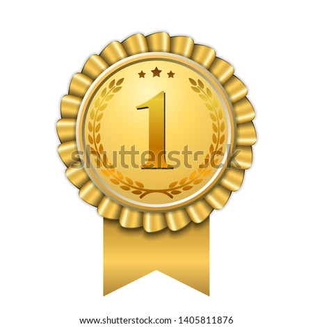 Award ribbon gold icon number first. Design winner golden medal 1 prize. Symbol best trophy, 1st success champion, one sport competition honor, achievement leadership, victory Vector illustration #1405811876