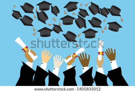 Graduating students,pupil hands in gown trowing graduation cap and diploma in the air,vector flat style #1405835012