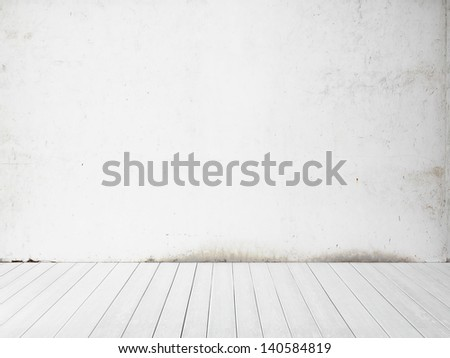 white wall and floor background